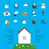Natural disaster accident concept with danger icons set and house vector illustration poster