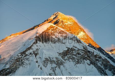 Evening view of Everest from Pumo Ri base camp - Way to Everest base camp - Nepal poster