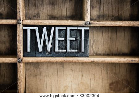 Tweet Concept Metal Letterpress Word In Drawer