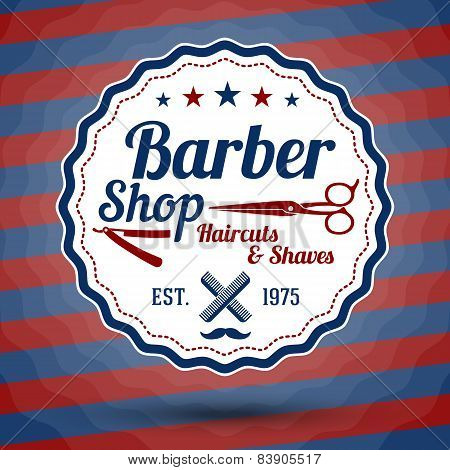 Vector retro stylized sign for Barber Shop on classic barbers background.
