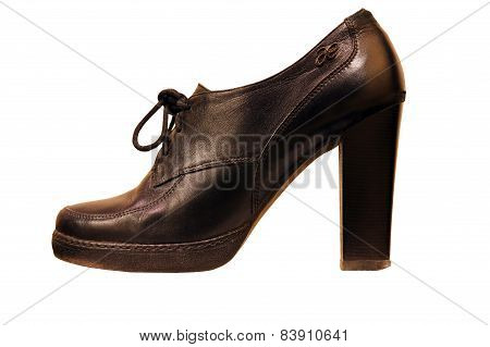 Black High-heeled Womanish Boot.isolated