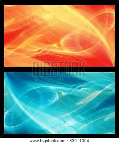 Two Abstract Fractal horizontal backgrounds cosmic light in  ice blue and in orange