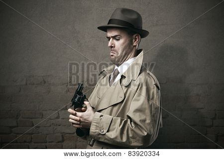 Silly Vintage Detective With A Gun