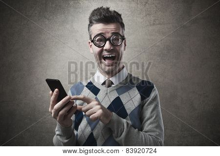 Cheerful Guy With Smartphone