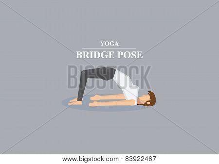 Yoga Asana Bridge Pose Vector Illustration