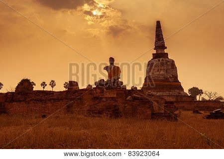 Thai Temple Sunset, The Historical Temple In Ayutthaya, Thailand