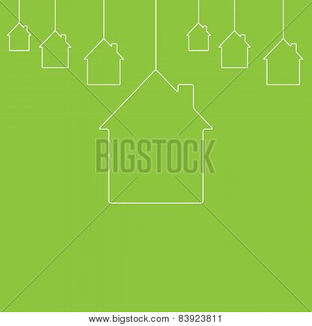 White Contour Houses Hanging On Green Background