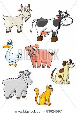 Cartoon cow, dog, sheep, pig, cat, goat, goose