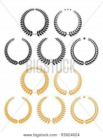 Laurel wreaths with stars design elements