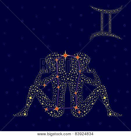 Zodiac Sign Gemini Over Starry Sky