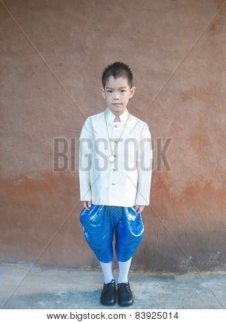 Asian Boy Wearing National Dress.