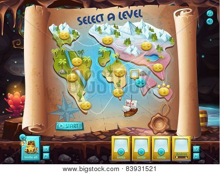 Example of the user interface to select the level to play treasure hunt. poster