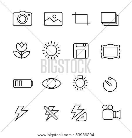 Photography icons on white background