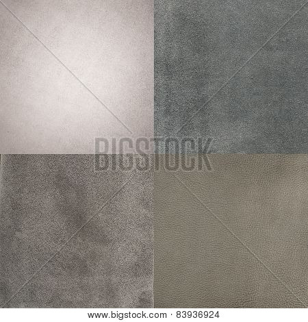 Set Of Grey Leather Samples