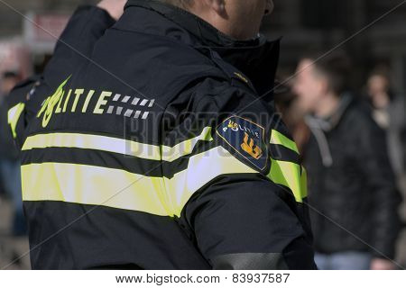 Police Officer Invigilate In Amsterdam