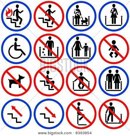 Icons for escalators and stairs in the shop