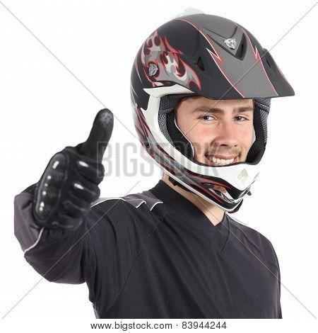 Happy Motor Biker Man Gesturing Thumbs Up