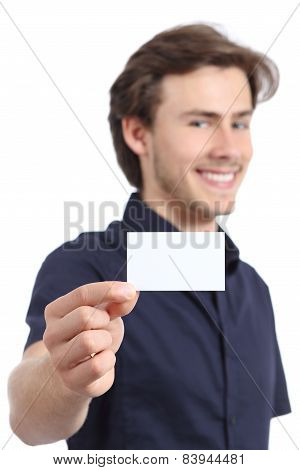 Young Handsome Businessman Holding A Blank Card
