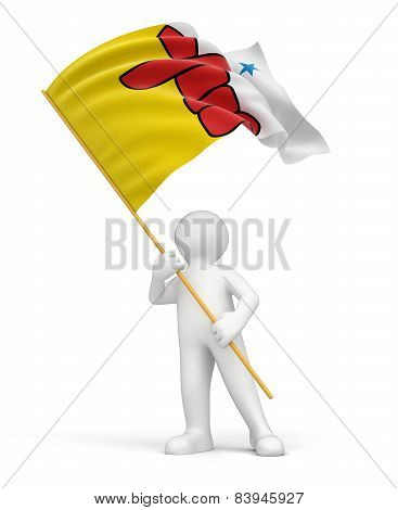 Man and flag of Nunavut (clipping path included)