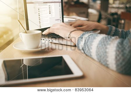 Woman Using A Laptop During A Coffee Break