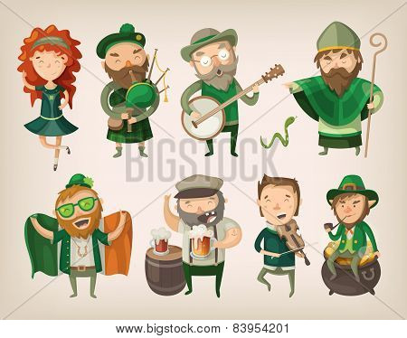Set Of Irish Characters.