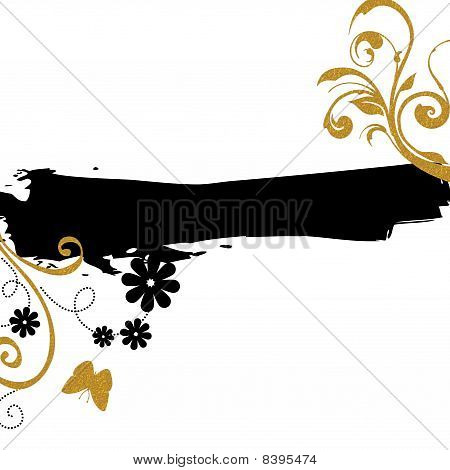 gold black floral background