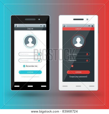 Modern Smartphone With Registration Screen. Flat Design Template For Mobile Apps