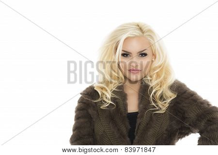 Pretty Blond Woman In Furry Knitted Coat Dress