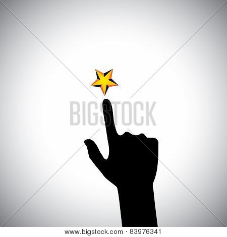 vector icon of hand reaching for star - concept of ambition. This also represents concepts like aspiration determination will power greed hope dreams initiative trying spirit zeal poster