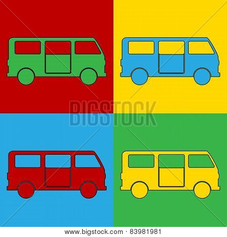 Pop Art Minibus Symbol Icons.