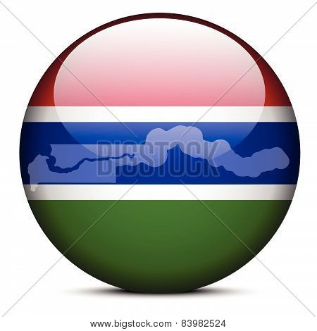 Vector Image - Map with Dot Pattern on flag button of Republic of The Gambia poster