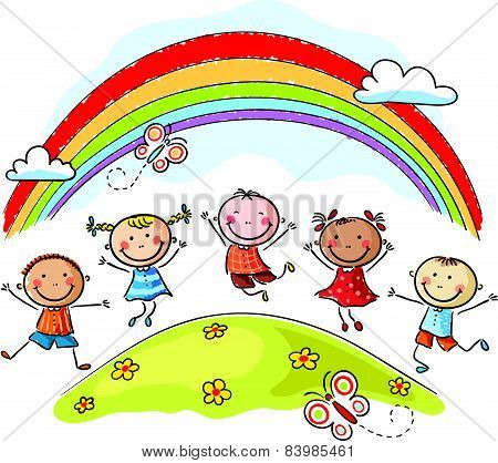 Kids jumping with joy underneath a rainbow