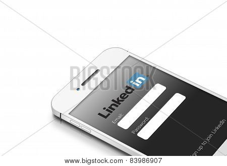 Gdansk, Poland - March 2, 2015: White Mobile Phone With Linkedin Social Network Isolated Over White