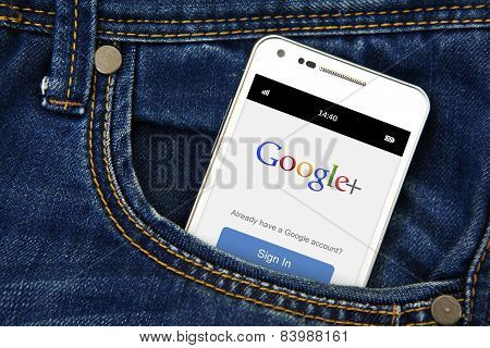 Gdansk -  Poland, September 16, 2014. Mobile Phone In The Pocket With Google Plus Login Page.