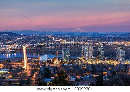 Portland South Waterfront At Sunset