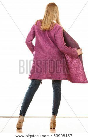 Blonde Fashionable Woman In Vivid Color Coat.