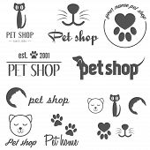 Collection of vintage logo and logotype elements for pet shop, pet house and pet clinic poster