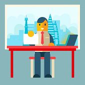 Businessman Sitting Table Paper Contract  Corm Sign Window City Background Flat Design Concept Template Vector Illustration poster