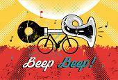 "Funny retro grunge poster ""Beep Beep!"" Bike with klaxon. Vector illustration. poster"