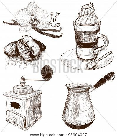 Hand-drawn Collection of cafe items
