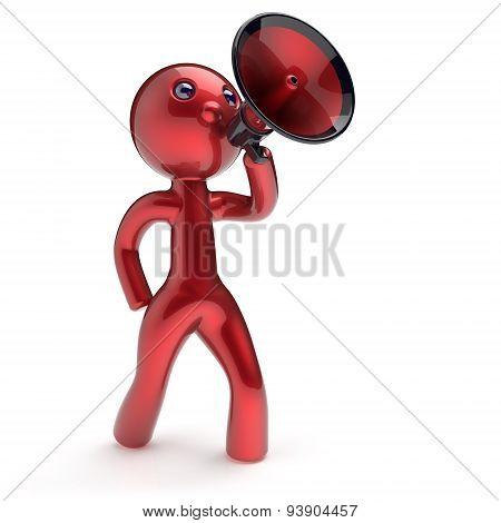 Man Speaking Megaphone Character Making Announcement