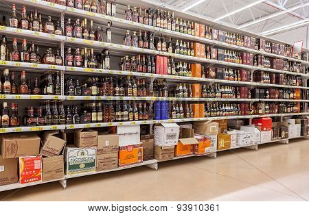 Showcase Alcoholic Beverages At The Hypermarket Auchan