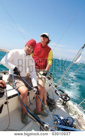 Sailing Regatta Skipper Crew Concentration