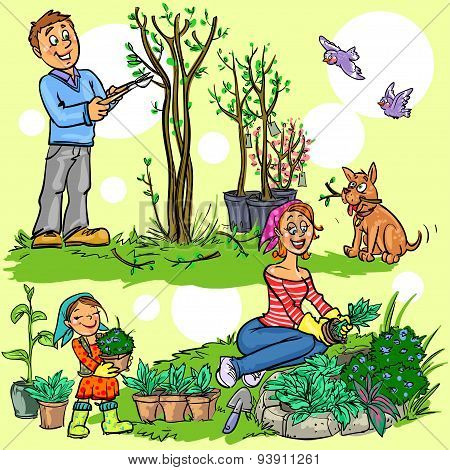 Happy family in garden