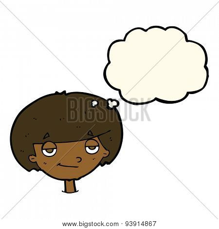 cartoon smug looking boy with thought bubble