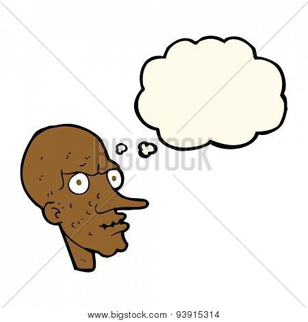 cartoon evil old man with thought bubble poster