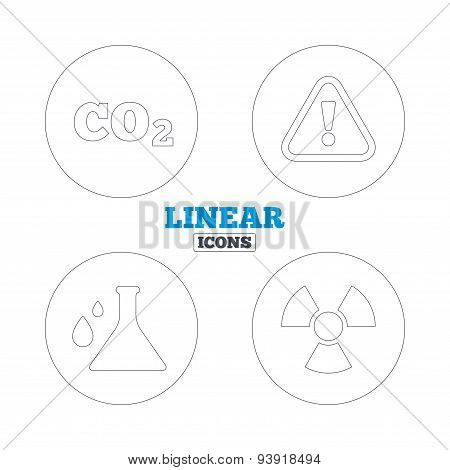 Attention and radiation icons. Chemistry flask sign. CO2 carbon dioxide symbol. Linear outline web icons. Vector poster