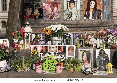 Munich, Germany - June 12 2015: Michael Jackson memorial in Munich