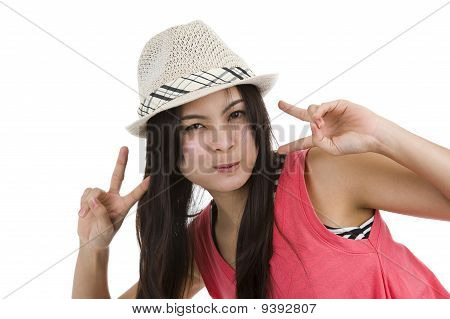Woman With Victory/peace Sign