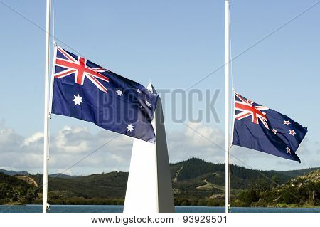 The national flags of Australia and New Zealand during a National War Memorial Anzac Day services in New Zealand.